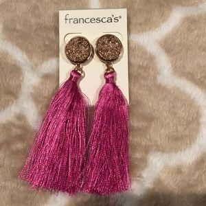 Francesca's Rose gold/pink dangle studs earrings